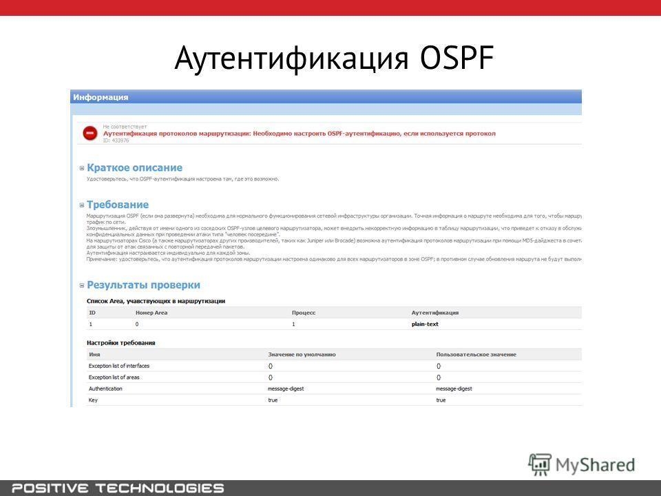 Аутентификация OSPF