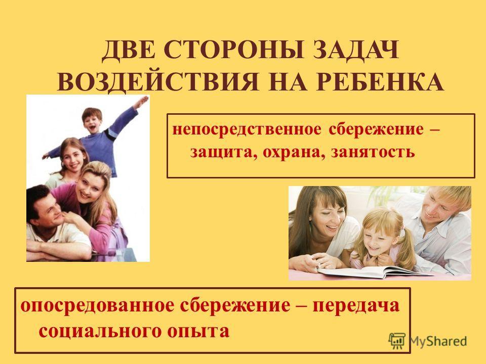 ДВЕ СТОРОНЫ ЗАДАЧ ВОЗДЕЙСТВИЯ НА РЕБЕНКА непосредственное сбережение – защита, охрана, занятость опосредованное сбережение – передача социального опыта