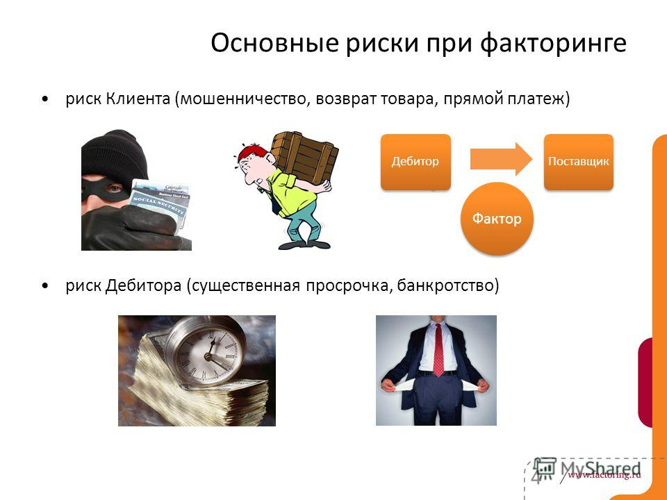 Основные риски при факторинге риск Клиента (мошенничество, возврат товара, прямой платеж) риск Дебитора (существенная просрочка, банкротство) 4 Фактор ДебиторПоставщик