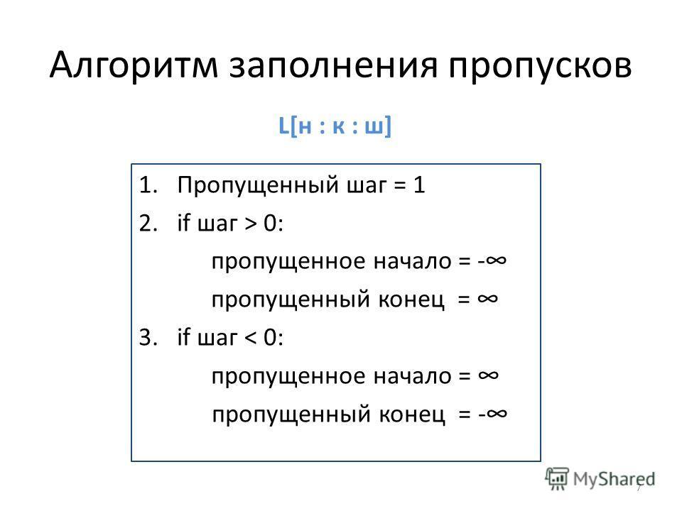Алгоритм заполнения пропусков 1.Пропущенный шаг = 1 2.if шаг > 0: пропущенное начало = - пропущенный конец = 3.if шаг < 0: пропущенное начало = пропущенный конец = - 7 L[н : к : ш]