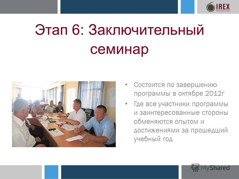Этап 6: Заключительный семинар Состоится по завершению программы в октябре 2012г Где все участники программы и заинтересованные стороны обменяются опытом и достижениями за прошедший учебный год