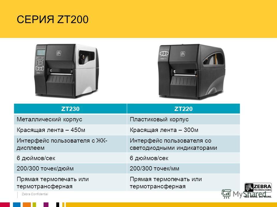 Zebra Confidential СЕРИЯ ZT200 ZT230ZT220 Металлический корпусПластиковый корпус Красящая лента – 450мКрасящая лента – 300м Интерфейс пользователя с ЖК- дисплеем Интерфейс пользователя со светодиодными индикаторами 6 дюймов/сек 200/300 точек/дюйм200/