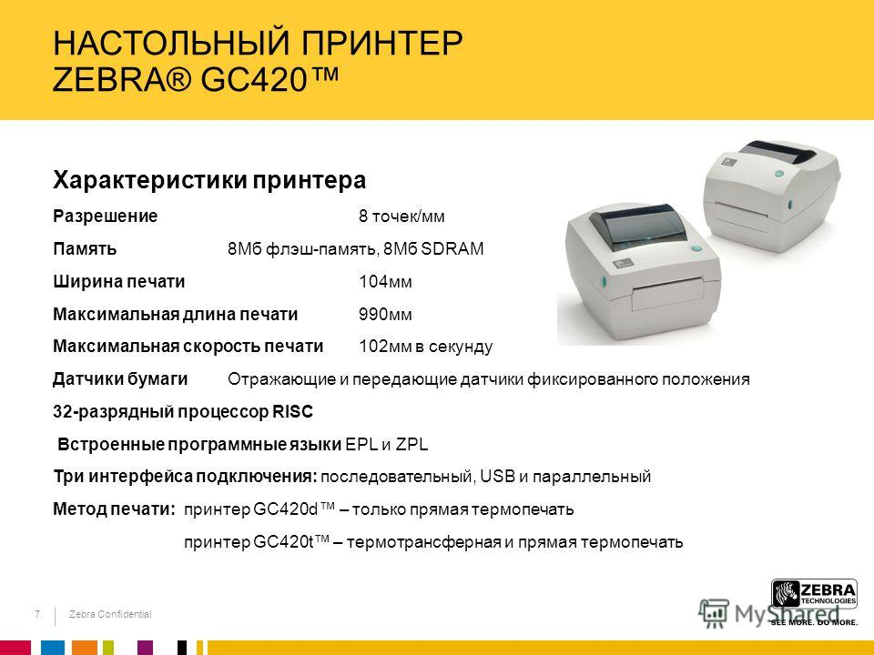 Zebra Confidential НАСТОЛЬНЫЙ ПРИНТЕР ZEBRA® GC420 Характеристики принтера Разрешение 8 точек/мм Память 8Мб флэш-память, 8Мб SDRAM Ширина печати 104мм Максимальная длина печати 990мм Максимальная скорость печати 102мм в секунду Датчики бумаги Отражаю