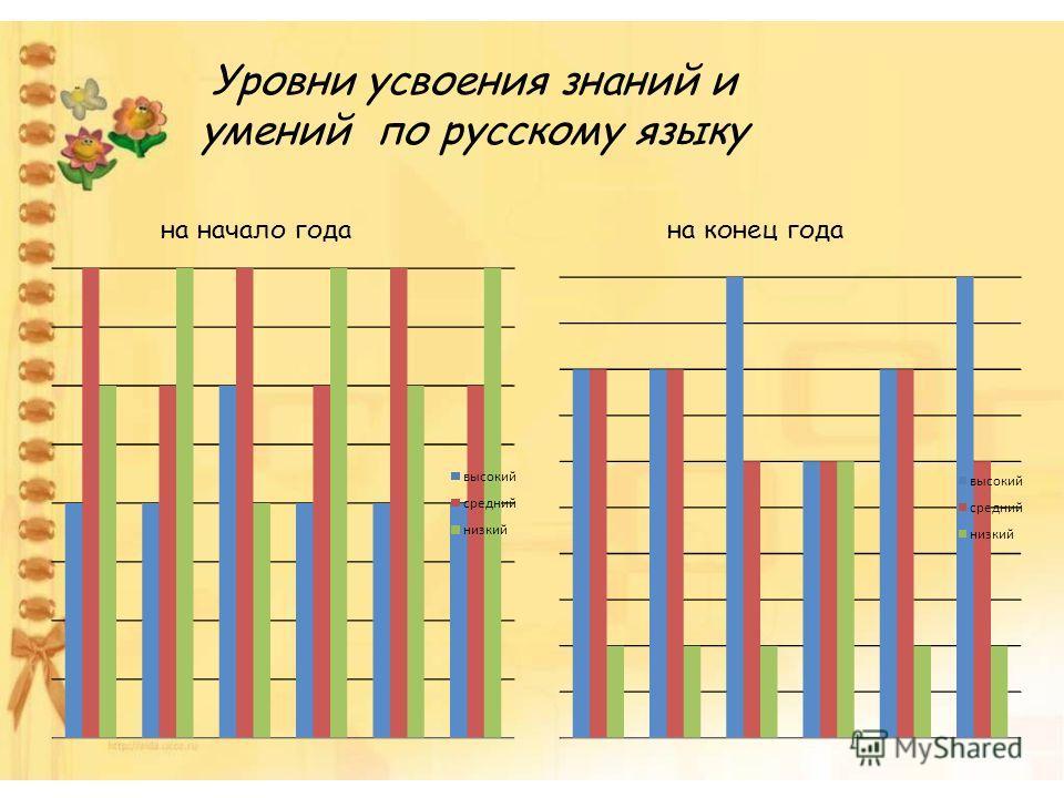 Уровни усвоения знаний и умений по русскому языку на начало годана конец года