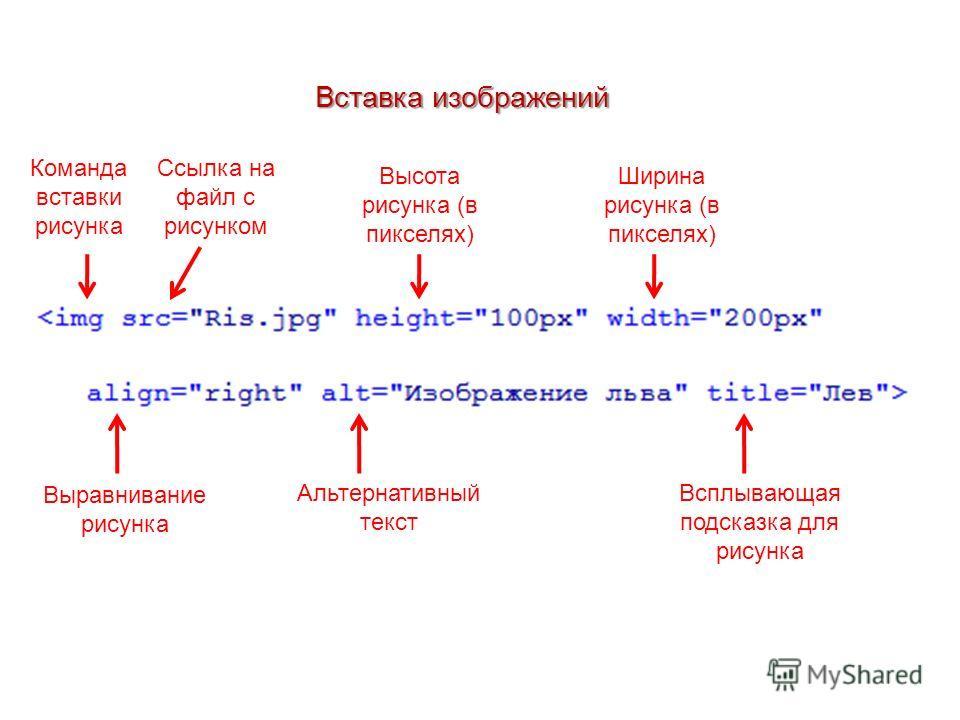 Вставка изображений Команда вставки рисунка Ссылка на файл с рисунком Высота рисунка (в пикселях) Ширина рисунка (в пикселях) Выравнивание рисунка Альтернативный текст Всплывающая подсказка для рисунка