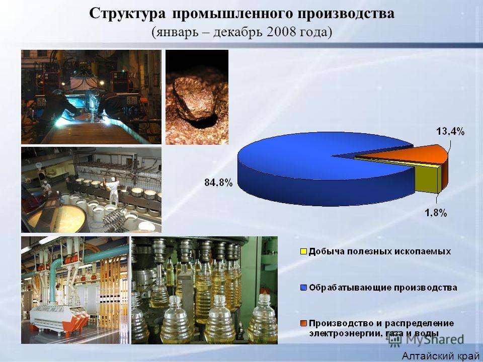 Структура промышленного производства (январь – декабрь 2008 года) Алтайский край