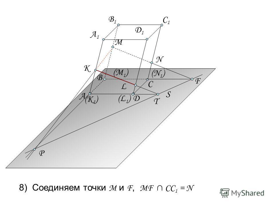 S T L P М (К 1 ) (L1)(L1) А Д А1А1 B1B1 C1C1 К B Д1Д1 (N1)(N1) F (М 1 ) 8) Соединяем точки M и F, MF CC 1 = N N C