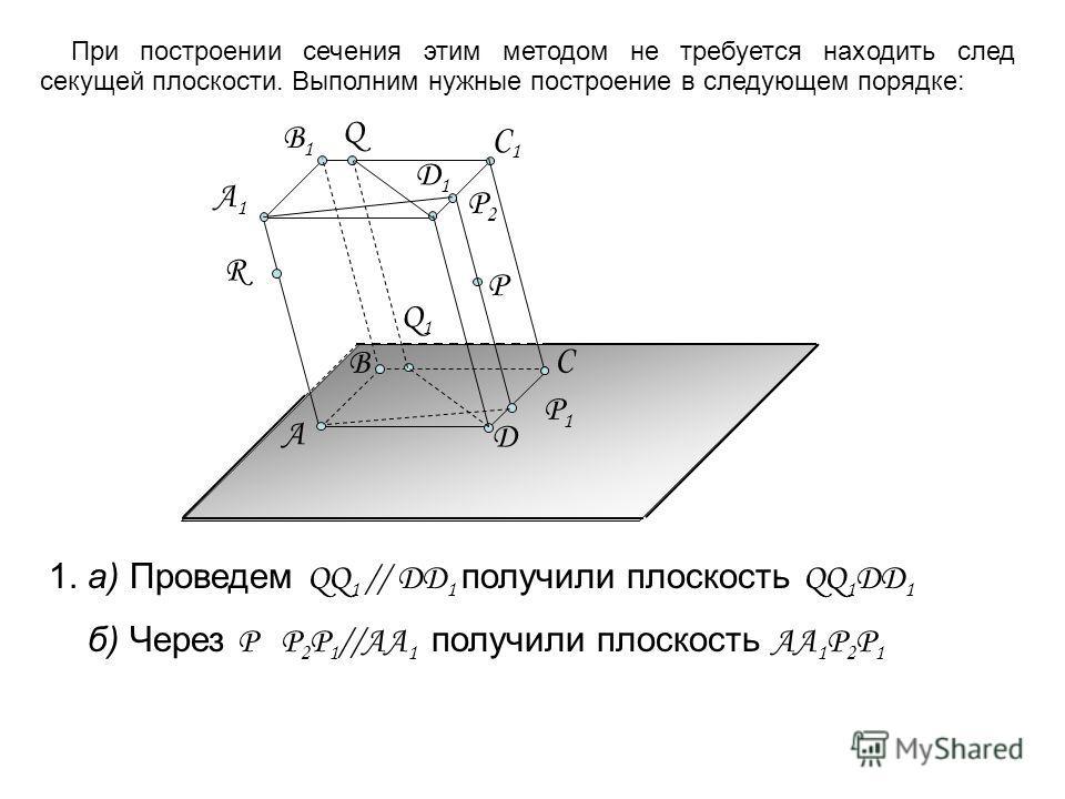 Д1Д1 А C Д А1А1 B1B1 C1C1 R B P Q 1. а) Проведем QQ 1 // DD 1 получили плоскость QQ 1 DD 1 б) Через Р Р 2 Р 1 //AA 1 получили плоскость АА 1 Р 2 Р 1 Q1Q1 P1P1 P2P2 При построении сечения этим методом не требуется находить след секущей плоскости. Выпо