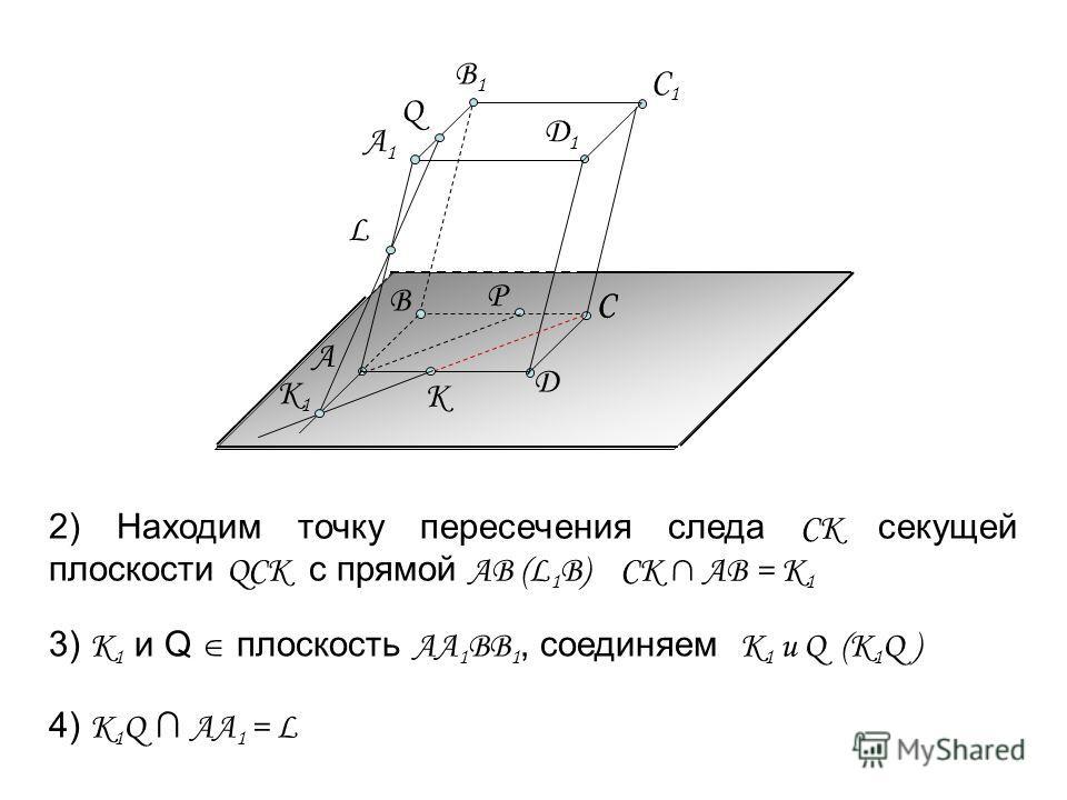 2) Находим точку пересечения следа СК секущей плоскости QCK с прямой АВ (L 1 B) CK AB = K 1 А C Д C1C1 Р C Д1Д1 А1А1 B1B1 Q B К 3) K 1 и Q плоскость АА 1 ВВ 1, соединяем K 1 и Q (K 1 Q ) К1К1 4) K 1 Q АА 1 = L L