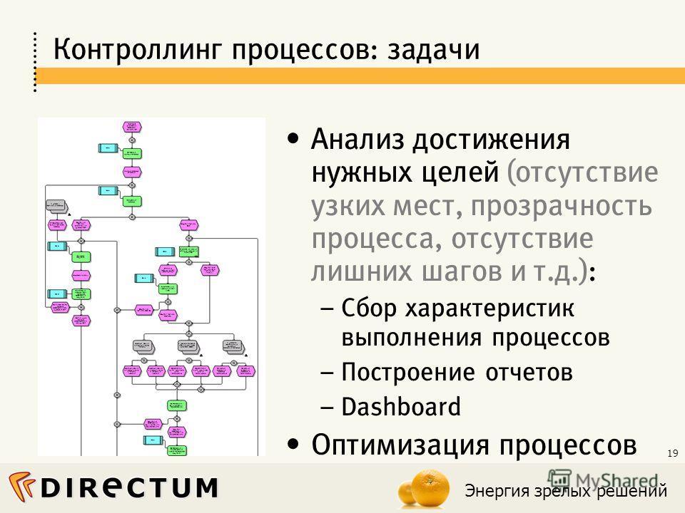 Энергия зрелых решений 19 Контроллинг процессов: задачи Анализ достижения нужных целей (отсутствие узких мест, прозрачность процесса, отсутствие лишних шагов и т.д.): – Сбор характеристик выполнения процессов – Построение отчетов – Dashboard Оптимиза