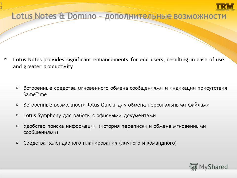 1313 Lotus Notes & Domino – дополнительные возможности Lotus Notes provides significant enhancements for end users, resulting in ease of use and greater productivity Встроенные средства мгновенного обмена сообщениями и индикации присутствия SameTime