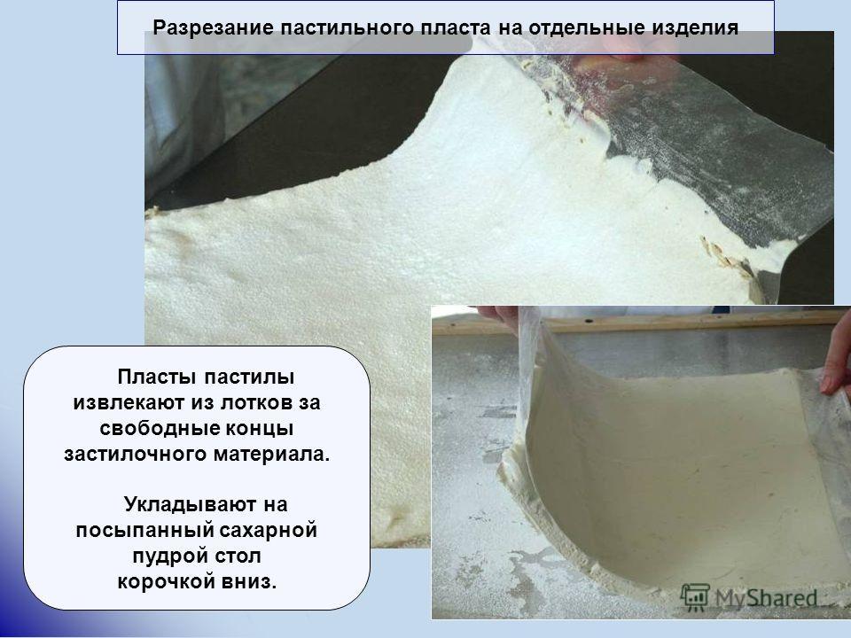 Разрезание пастильного пласта на отдельные изделия Пласты пастилы извлекают из лотков за свободные концы застилочного материала. Укладывают на посыпанный сахарной пудрой стол корочкой вниз.