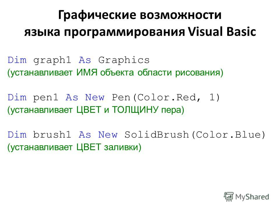Dim graph1 As Graphics (устанавливает ИМЯ объекта области рисования) Dim pen1 As New Pen(Color.Red, 1) (устанавливает ЦВЕТ и ТОЛЩИНУ пера) Dim brush1 As New SolidBrush(Color.Blue) (устанавливает ЦВЕТ заливки) Графические возможности языка программиро