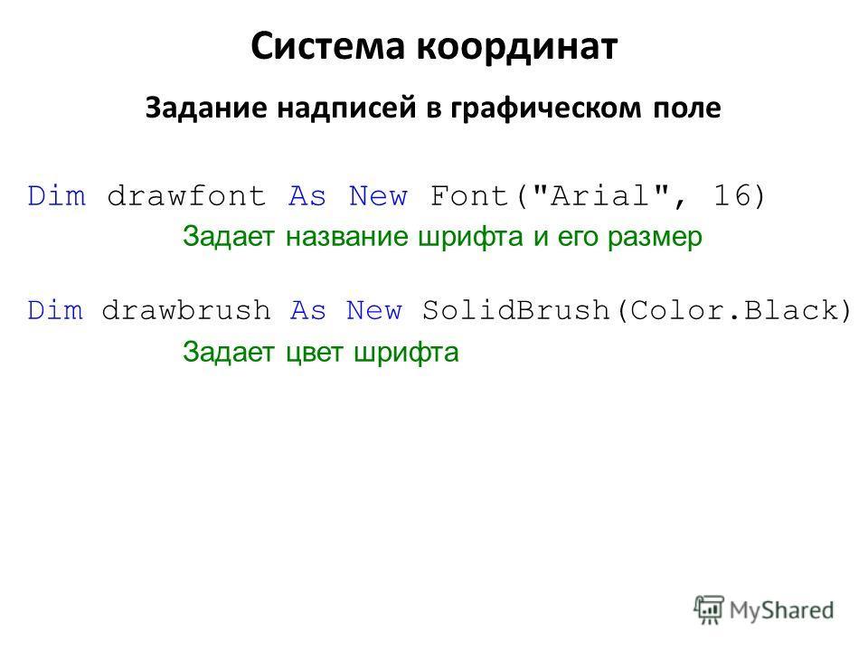 Dim drawfont As New Font(Arial, 16) Задает название шрифта и его размер Dim drawbrush As New SolidBrush(Color.Black) Задает цвет шрифта Система координат Задание надписей в графическом поле