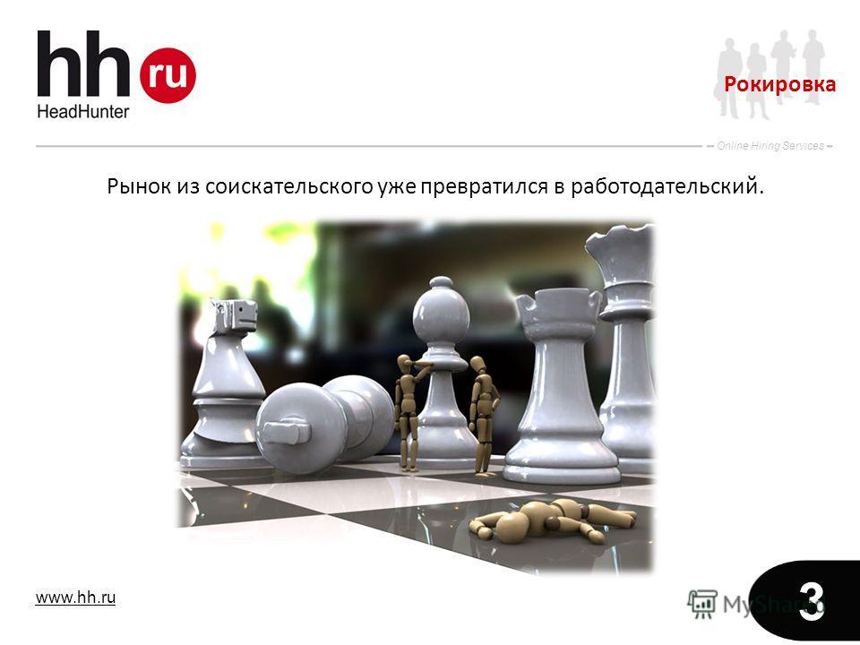 www.hh.ru Online Hiring Services 3 Рынок из соискательского уже превратился в работодательский. Рокировка