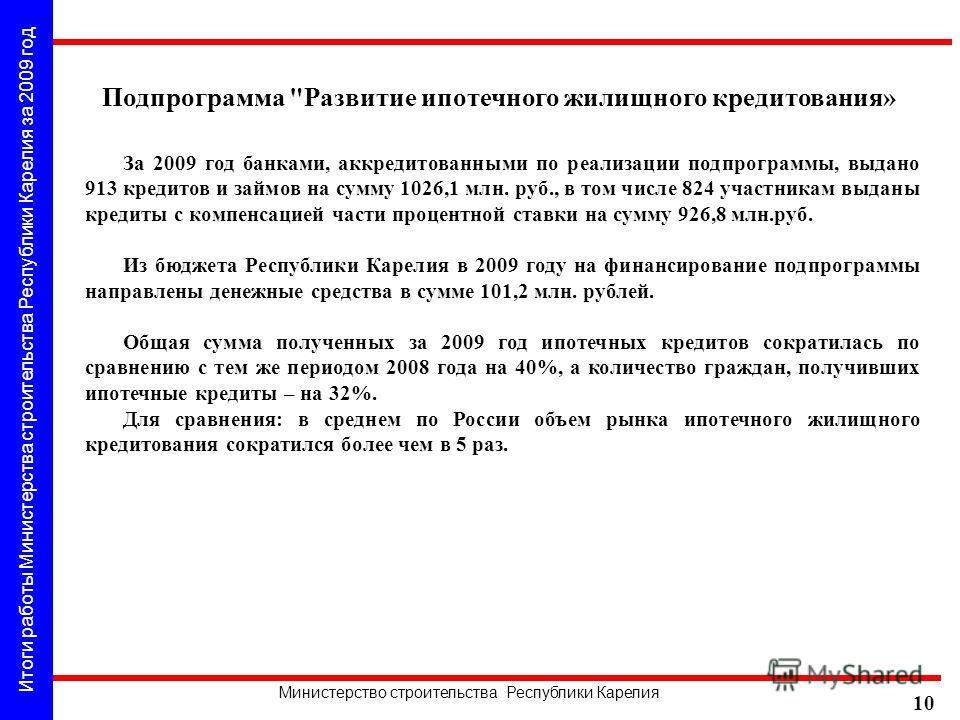 Итоги работы Министерства строительства Республики Карелия за 2009 год Министерство строительства Республики Карелия 10 За 2009 год банками, аккредитованными по реализации подпрограммы, выдано 913 кредитов и займов на сумму 1026,1 млн. руб., в том чи