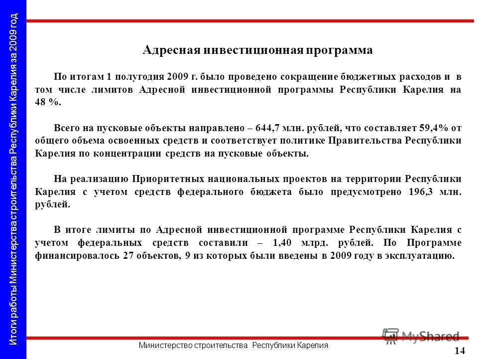 Итоги работы Министерства строительства Республики Карелия за 2009 год Министерство строительства Республики Карелия 14 Адресная инвестиционная программа По итогам 1 полугодия 2009 г. было проведено сокращение бюджетных расходов и в том числе лимитов