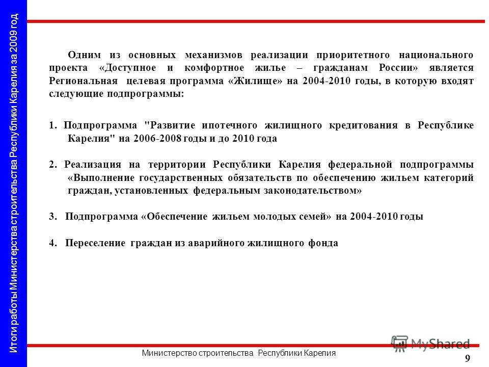 Итоги работы Министерства строительства Республики Карелия за 2009 год Министерство строительства Республики Карелия 9 1. Подпрограмма