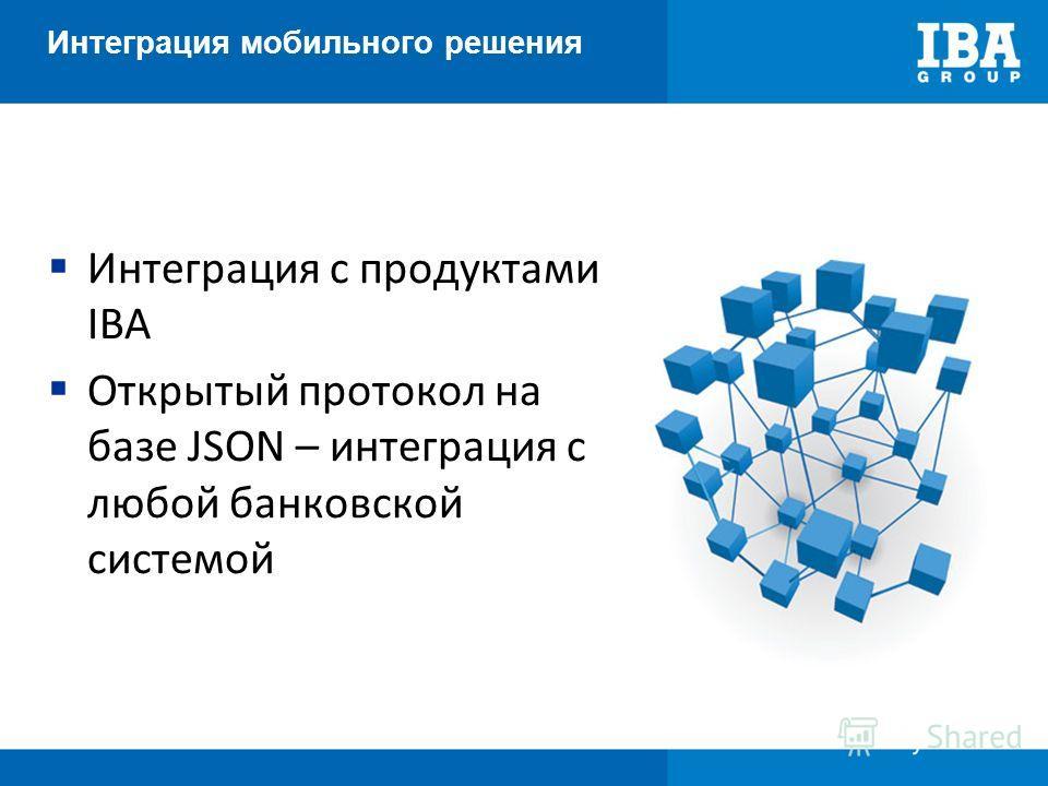 Интеграция мобильного решения Интеграция с продуктами IBA Открытый протокол на базе JSON – интеграция с любой банковской системой