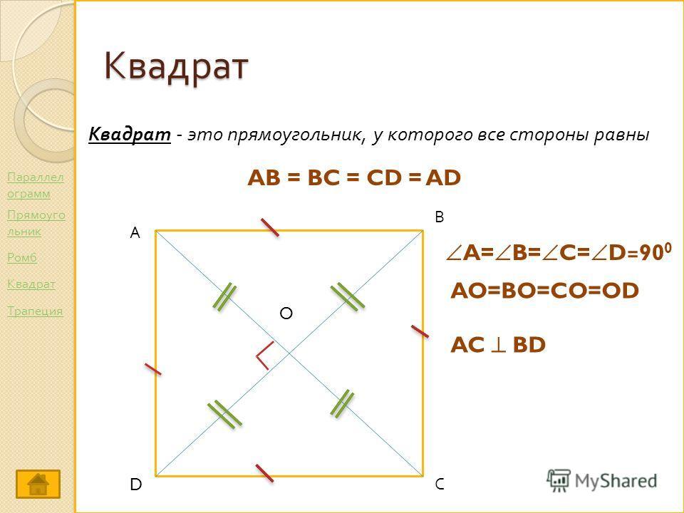 Квадрат Квадрат - это прямоугольник, у которого все стороны равны AB = BC = CD = AD А С В D O A= B= C= D=90 0 AO=BO=CO=OD AC BD Параллел ограмм Ромб Прямоуго льник Трапеция Квадрат