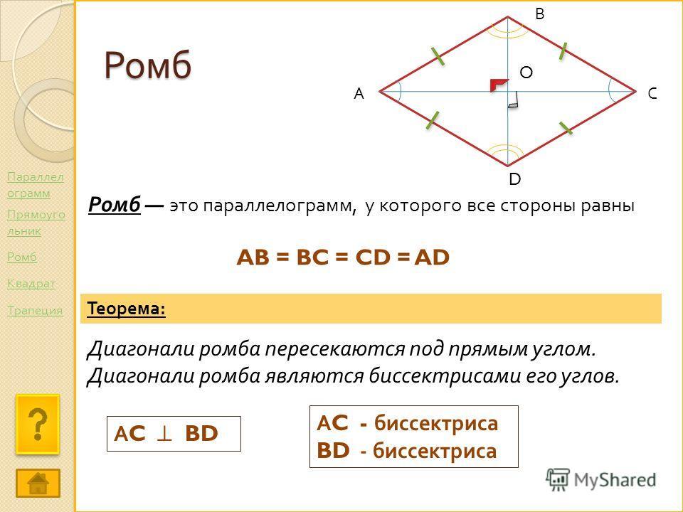 Ромб Ромб это параллелограмм, у которого все стороны равны АС В D O Теорема : Диагонали ромба пересекаются под прямым углом. Диагонали ромба являются биссектрисами его углов. А C BD AB = BC = CD = AD А C - биссектриса BD - биссектриса Параллел ограмм