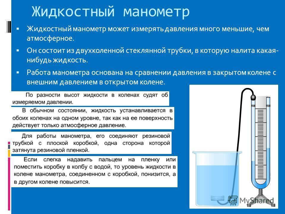 Жидкостный манометр Жидкостный манометр может измерять давления много меньшие, чем атмосферное. Он состоит из двухколенной стеклянной трубки, в которую налита какая- нибудь жидкость. Работа манометра основана на сравнении давления в закрытом колене с