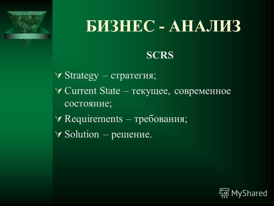 БИЗНЕС - АНАЛИЗ SCRS Strategy – стратегия; Current State – текущее, современное состояние; Requirements – требования; Solution – решение.