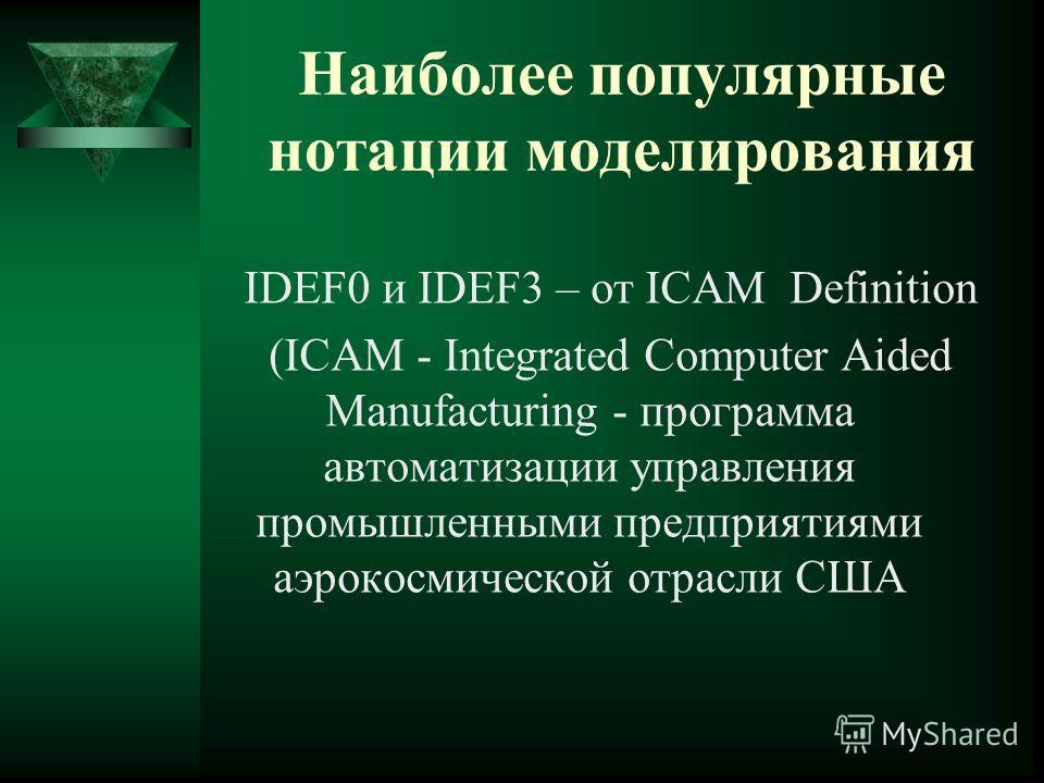 Наиболее популярные нотации моделирования IDEF0 и IDEF3 – от ICAM Definition (ICAM - Integrated Computer Aided Manufacturing - программа автоматизации управления промышленными предприятиями аэрокосмической отрасли США