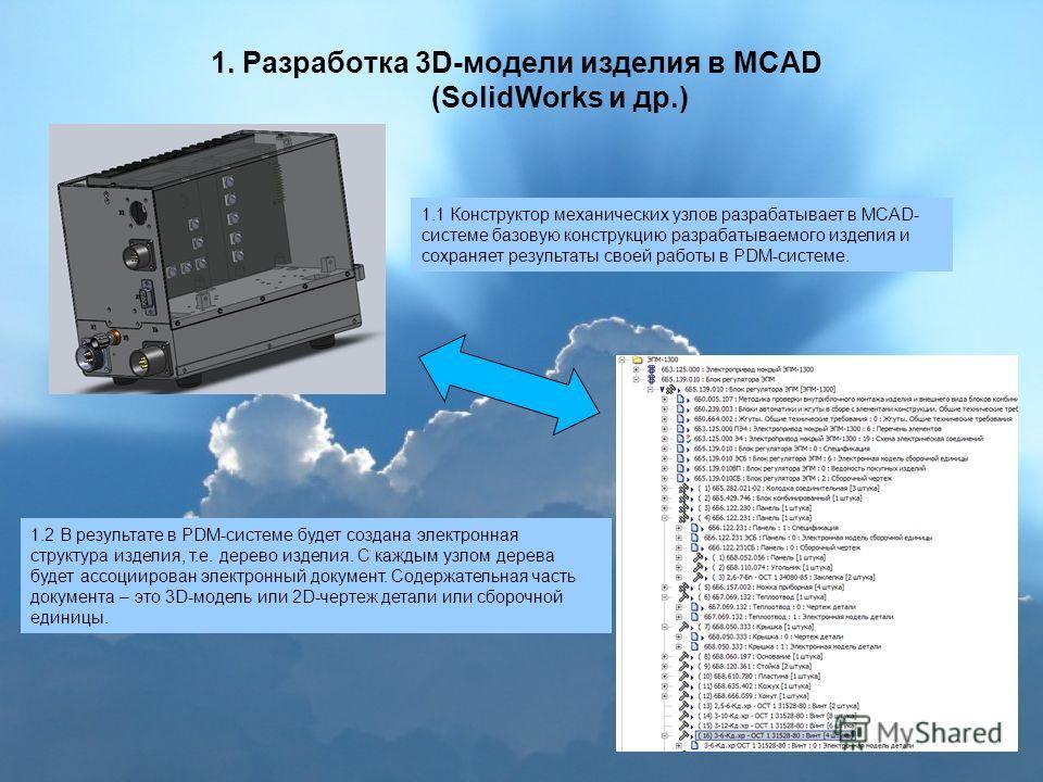 1. Разработка 3D-модели изделия в MCAD (SolidWorks и др.) 1.1 Конструктор механических узлов разрабатывает в MCAD- системе базовую конструкцию разрабатываемого изделия и сохраняет результаты своей работы в PDM-системе. 1.2 В результате в PDM-системе