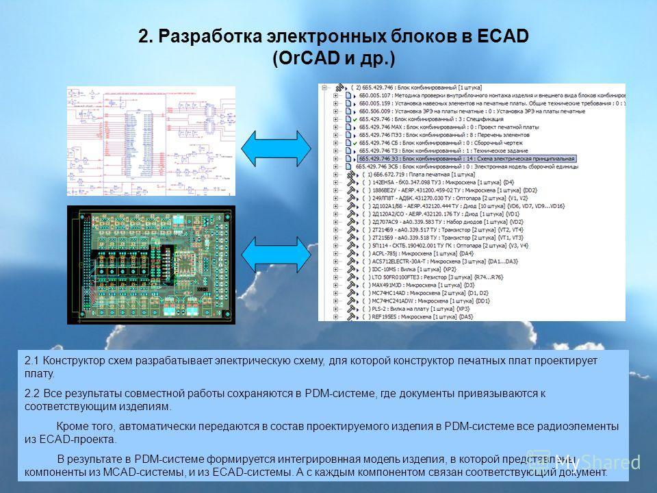 2. Разработка электронных блоков в ECAD (OrCAD и др.) 2.1 Конструктор схем разрабатывает электрическую схему, для которой конструктор печатных плат проектирует плату. 2.2 Все результаты совместной работы сохраняются в PDM-системе, где документы привя