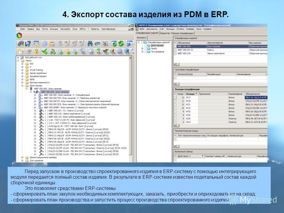 4. Экспорт состава изделия из PDM в ERP. Перед запуском в производство спроектированного изделия в ERP-систему с помощью интегрирующего модуля передается полный состав изделия. В результате в ERP-системе известен подетальный состав каждой сборочной е