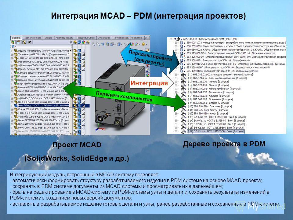 Интеграция MCAD – PDM (интеграция проектов) Проект MCAD (SolidWorks, SolidEdge и др.) Дерево проекта в PDM Интеграция Передача проекта (документы) Интегрирующий модуль, встроенный в MCAD-систему позволяет: - автоматически формировать структуру разраб