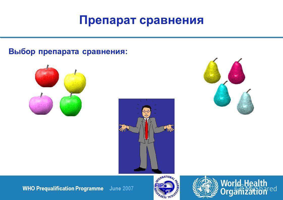 WHO Prequalification Programme June 2007 Препарат сравнения Выбор препарата сравнения: