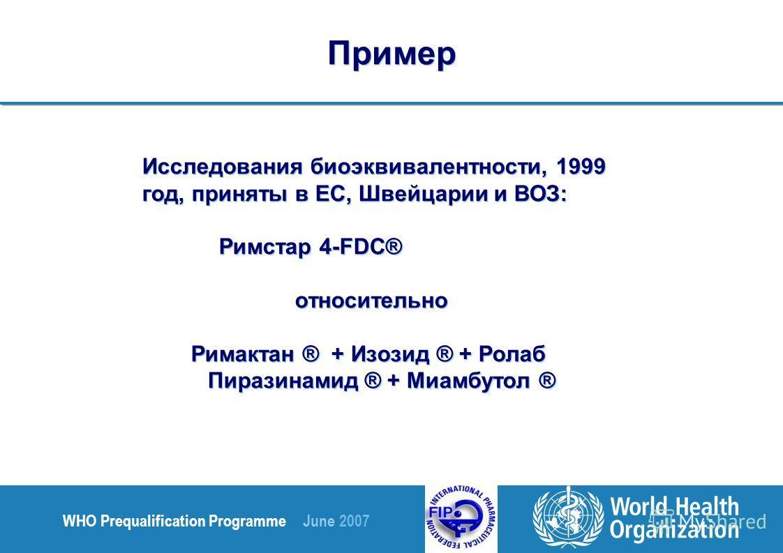 WHO Prequalification Programme June 2007 Исследования биоэквивалентности, 1999 год, приняты в ЕС, Швейцарии и ВОЗ: Римстар 4-FDC® относительно Римактан ® + Изозид ® + Ролаб Пиразинамид ® + Миамбутол ® Исследования биоэквивалентности, 1999 год, принят