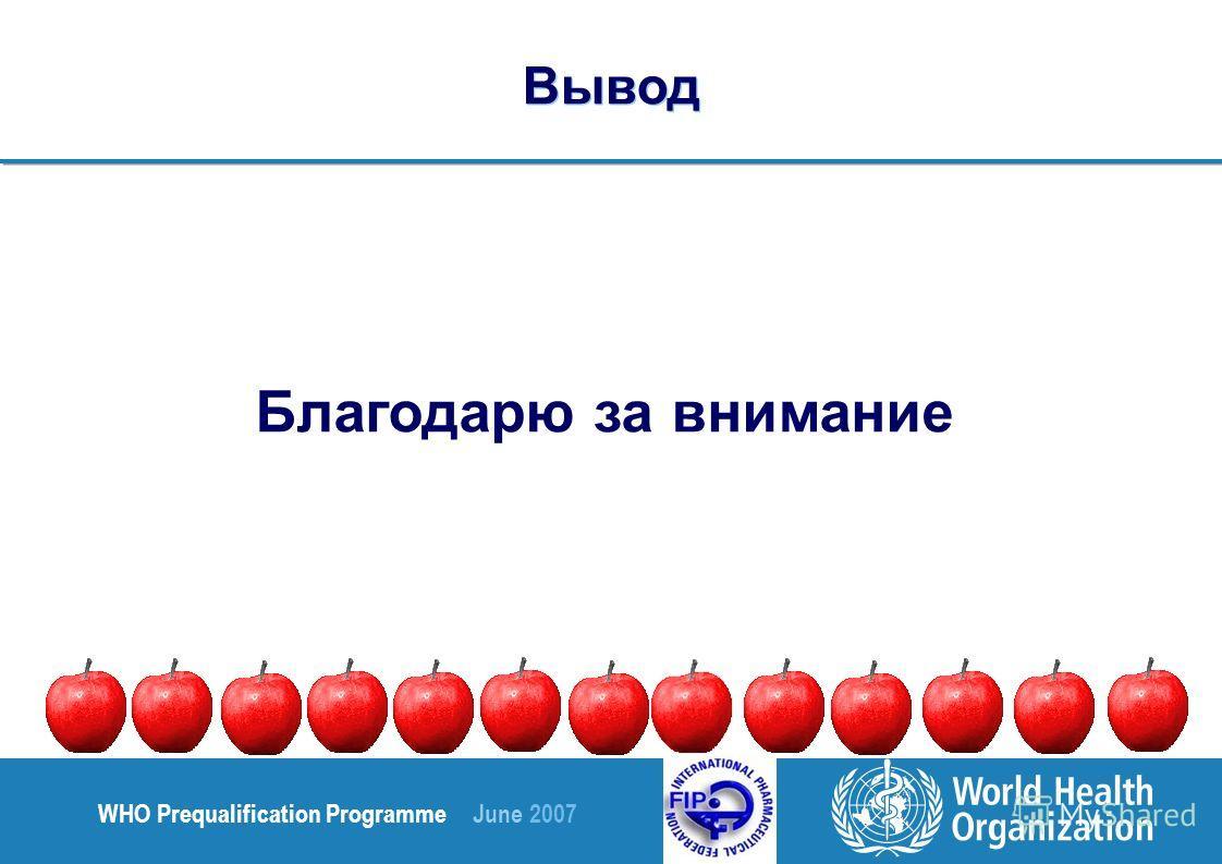 WHO Prequalification Programme June 2007 Благодарю за внимание Вывод