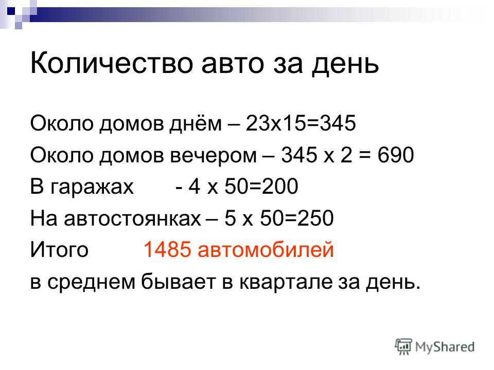 Количество авто за день Около домов днём – 23х15=345 Около домов вечером – 345 х 2 = 690 В гаражах - 4 х 50=200 На автостоянках – 5 х 50=250 Итого 1485 автомобилей в среднем бывает в квартале за день.
