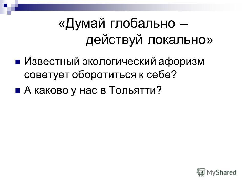 «Думай глобально – действуй локально» Известный экологический афоризм советует оборотиться к себе? А каково у нас в Тольятти?