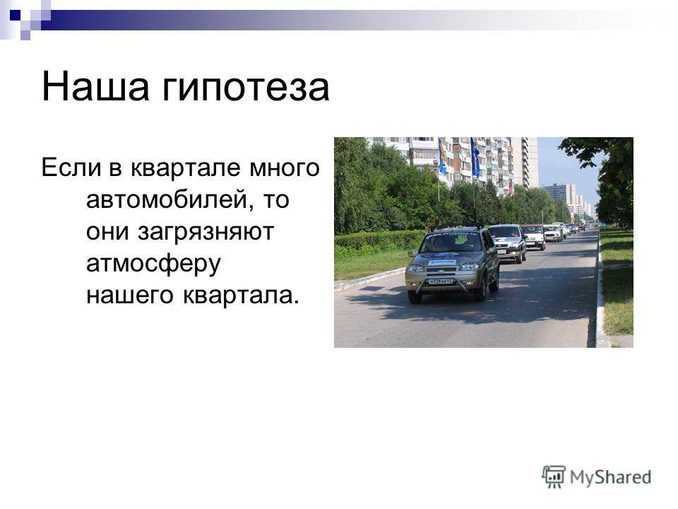 Наша гипотеза Если в квартале много автомобилей, то они загрязняют атмосферу нашего квартала.