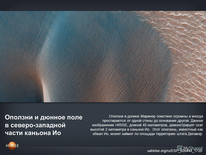 Оползни и дюнное поле в северо-западной части каньона Ио uahirise.org/ru/ESP_026444_1720 Оползни в долине Маринер поистине огромны и иногда простираются от одной стены до основания другой. Данное изображение HiRISE, длиной 45 километров, демонстрируе
