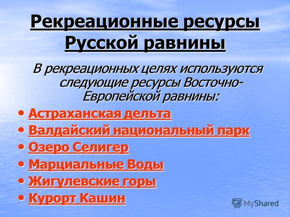 Рекреационные ресурсы Русской равнины В рекреационных целях используются следующие ресурсы Восточно- Европейской равнины: В рекреационных целях используются следующие ресурсы Восточно- Европейской равнины: Астраханская дельта Астраханская дельта Астр