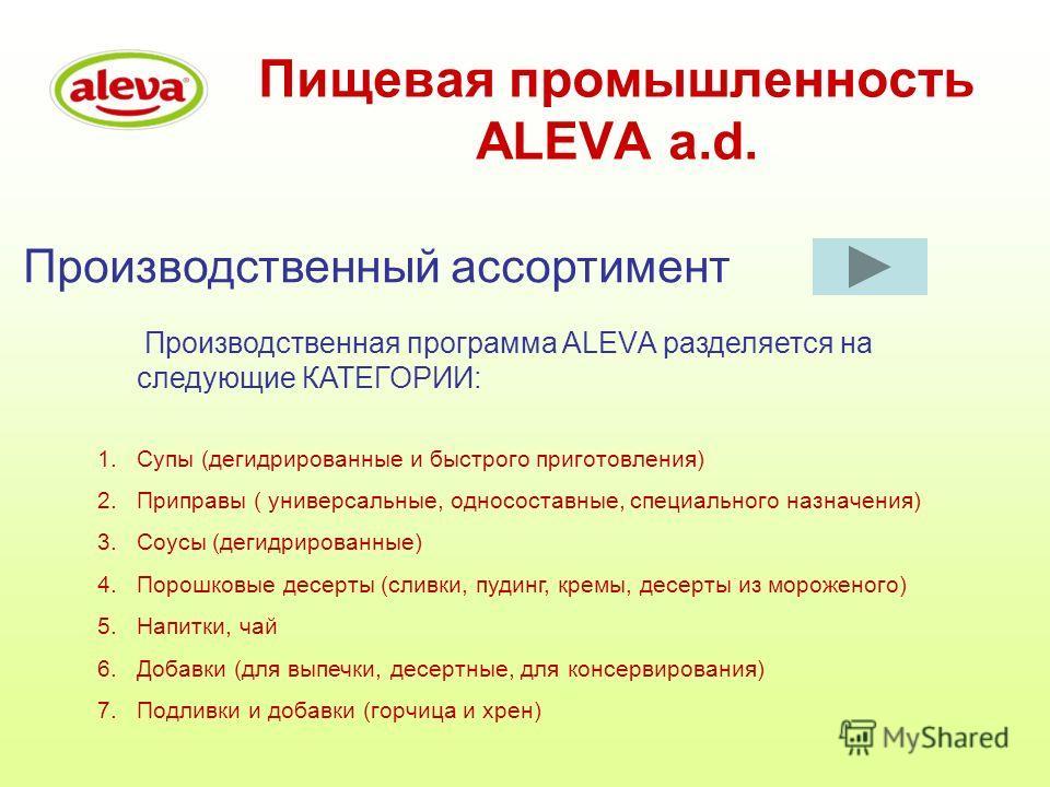 Пищевая промышленность ALEVA a.d. Производственный ассортимент Производственная программа ALEVА разделяется на следующие КАТЕГОРИИ: 1.Супы (дегидрированные и быстрого приготовления) 2.Приправы ( универсальные, односоставные, специального назначения)