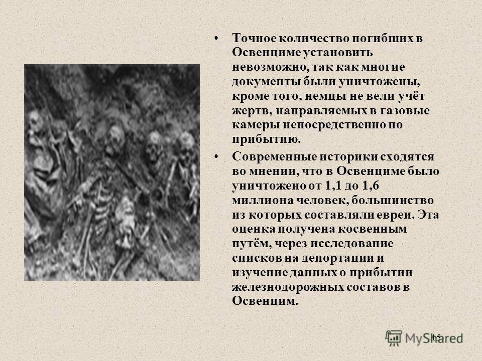 Точное количество погибших в Освенциме установить невозможно, так как многие документы были уничтожены, кроме того, немцы не вели учёт жертв, направляемых в газовые камеры непосредственно по прибытию. Современные историки сходятся во мнении, что в Ос