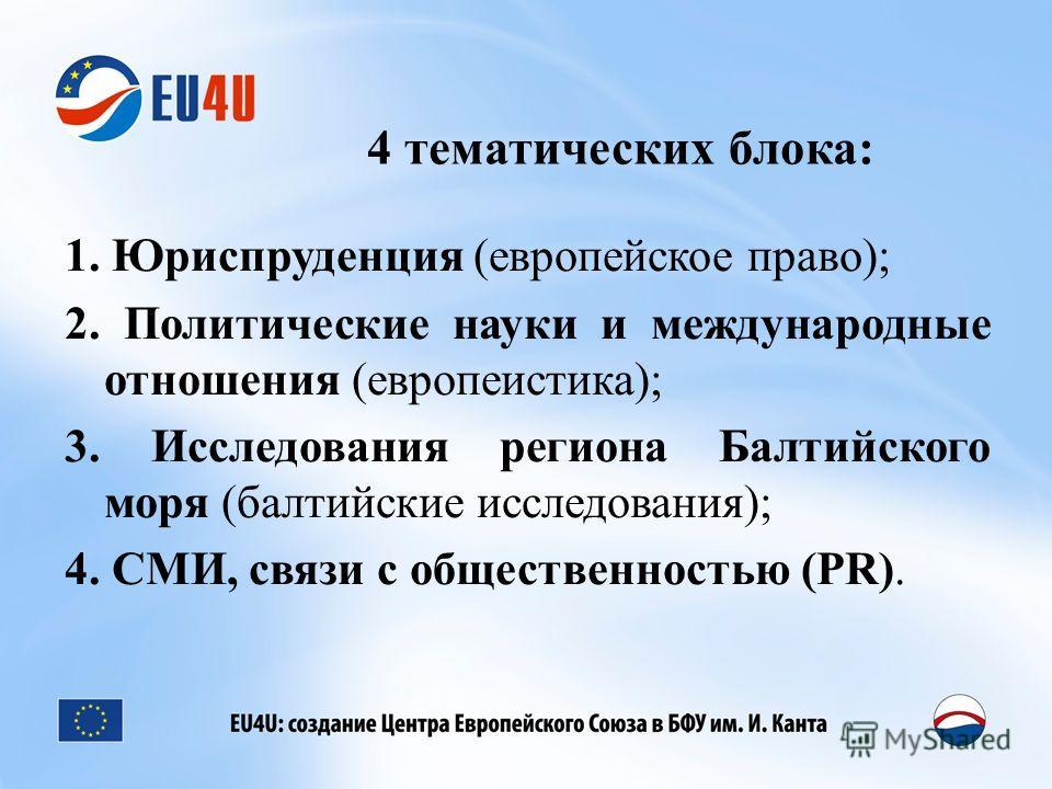 4 тематических блока: 1. Юриспруденция (европейское право); 2. Политические науки и международные отношения (европеистика); 3. Исследования региона Балтийского моря (балтийские исследования); 4. СМИ, связи с общественностью (PR).