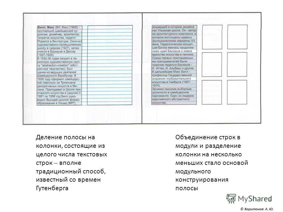 4 Деление полосы на колонки, состоящие из целого числа текстовых строк – вполне традиционный способ, известный со времен Гутенберга Объединение строк в модули и разделение колонки на несколько меньших стало основой модульного конструирования полосы