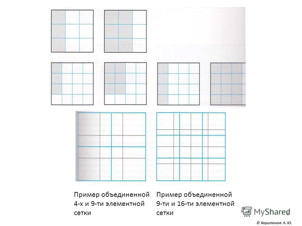 © Харитонов А. Ю. 8 Пример объединенной 4-х и 9-ти элементной сетки Пример объединенной 9-ти и 16-ти элементной сетки