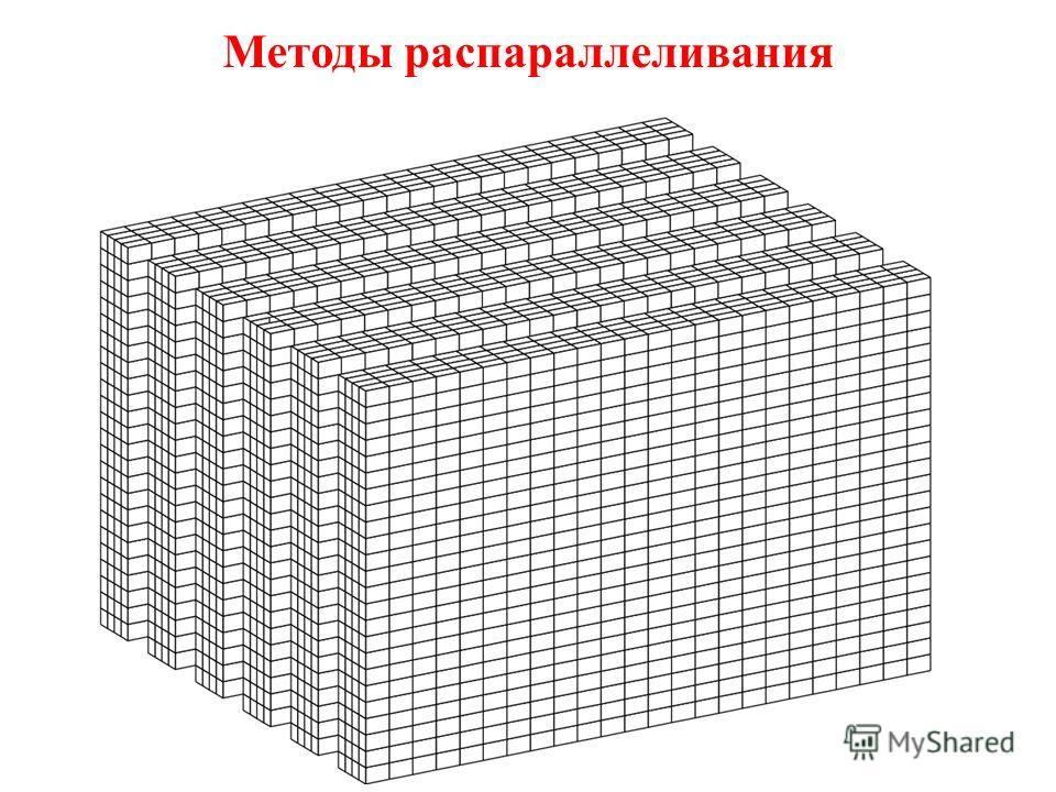 Методы распараллеливания Требуется специальная адаптация численного кода к параллельной архитектуре. Явные методы могут быть адаптированы путем разбиения расчетной сетки на подобласти. При этом каждая подобласть обрабатывается одним процессором. Спос