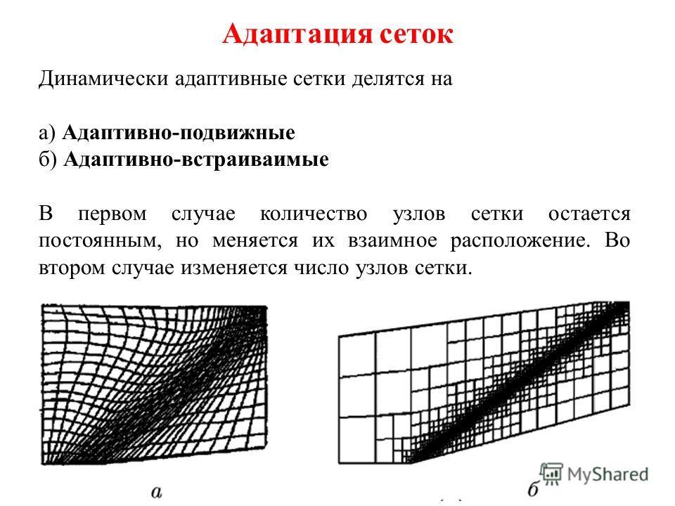 Адаптация сеток Адаптивными называются сетки, каким-либо образом приспосабливающиеся к особенностям течения. Они позволяют без увеличения вычислительных затрат повышать точность расчета. В основе всех методов построения адаптивных сеток положен принц
