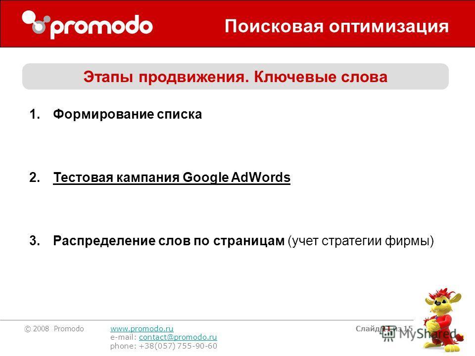 © 2008 Promodo www.promodo.ru e-mail: contact@promodo.rucontact@promodo.ru phone: +38(057) 755-90-60 Слайд 11 из 15 Поисковая оптимизация Этапы продвижения. Ключевые слова 1.Формирование списка 2.Тестовая кампания Google AdWords 3.Распределение слов