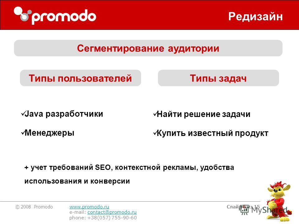 © 2008 Promodo www.promodo.ru e-mail: contact@promodo.rucontact@promodo.ru phone: +38(057) 755-90-60 Слайд 6 из 15 Редизайн Сегментирование аудитории Java разработчики Менеджеры Найти решение задачи Купить известный продукт Типы пользователейТипы зад