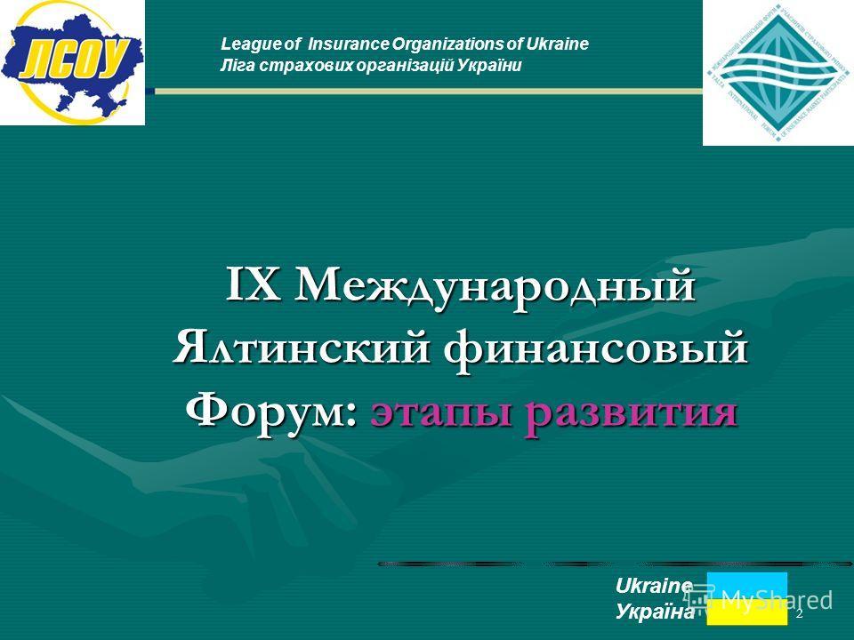 2 IX Международный Ялтинский финансовый Форум: этапы развития League of Insurance Organizations of Ukraine Ліга страхових організацій України Ukraine Україна